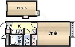 JR東海道・山陽本線 高槻駅 バス9分 南平台東下車 徒歩3分の賃貸アパート 2階1Kの間取り