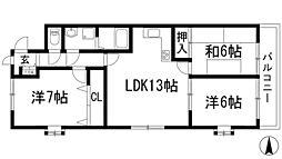 ハビタ小戸[1階]の間取り