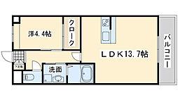 泉北高速鉄道 和泉中央駅 徒歩25分の賃貸アパート 2階1LDKの間取り