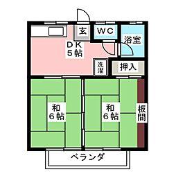 タカノハハイツ1号棟[2階]の間取り
