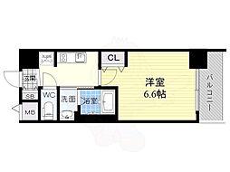 エステムコート新大阪14 アイシー 13階1Kの間取り
