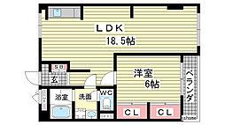 兵庫県神戸市灘区高尾通4丁目の賃貸マンションの間取り