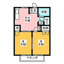 コーポ日比野 D棟[2階]の間取り