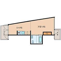 近鉄大阪線 大和八木駅 徒歩8分の賃貸マンション 4階1DKの間取り