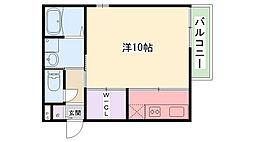 エミネンス武庫川 1階1Kの間取り
