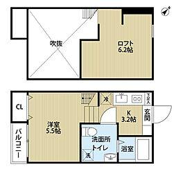 小田急小田原線 町田駅 徒歩17分の賃貸アパート 2階ワンルームの間取り