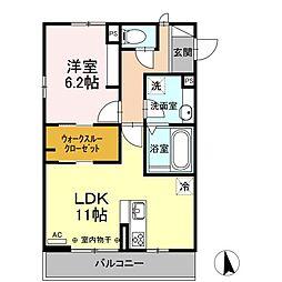 エミネンス山崎 2階1LDKの間取り