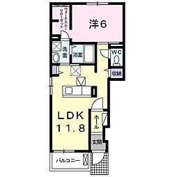 関東鉄道常総線 大宝駅 4.8kmの賃貸アパート 1階1LDKの間取り
