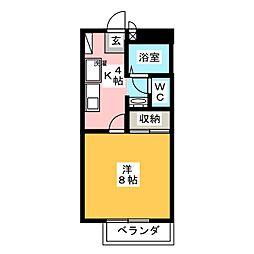 フォレスト庭瀬 A[2階]の間取り
