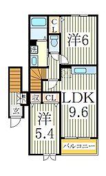サンライト・ヒルズC[2階]の間取り