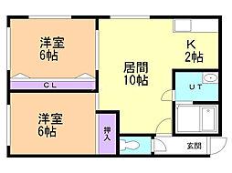 3・3ビル 2階2LDKの間取り