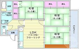 仙台市営南北線 愛宕橋駅 徒歩12分の賃貸アパート 2階3LDKの間取り