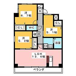 プログレッソ花の木[7階]の間取り