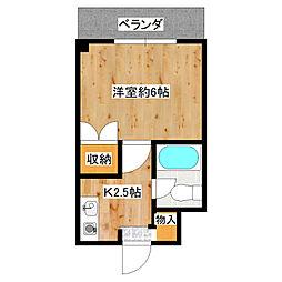堺グランセ 4階1Kの間取り
