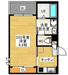 広島電鉄宮島線 高須駅 徒歩3分の賃貸アパート 2階1Kの間取り