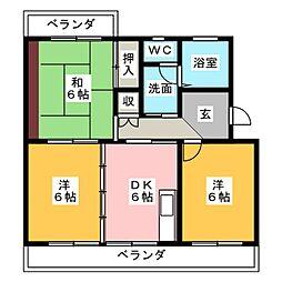 サテンコート[3階]の間取り