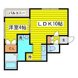 北海道札幌市東区北二十四条東14丁目の賃貸マンションの間取り