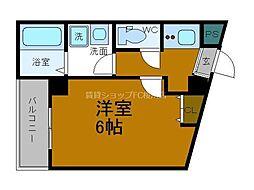 Osaka Metro四つ橋線 玉出駅 徒歩4分の賃貸マンション 2階1Kの間取り