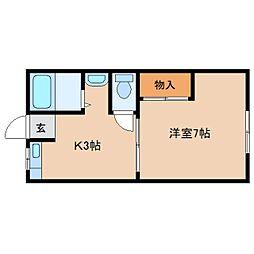 奈良県天理市豊井町の賃貸アパートの間取り