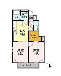 JR左沢線 東金井駅 嶋南2丁目下車 徒歩5分の賃貸アパート 1階2DKの間取り