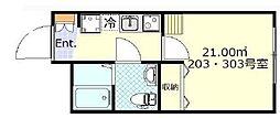東急東横線 日吉駅 徒歩8分の賃貸アパート 2階1Kの間取り