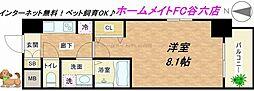 大阪府大阪市中央区常盤町2丁目の賃貸マンションの間取り