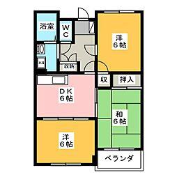 ルミエールE&F[2階]の間取り