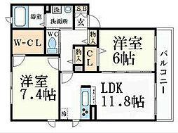 阪神本線 打出駅 徒歩9分の賃貸アパート 1階2LDKの間取り