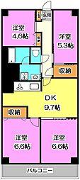埼玉県新座市野火止8丁目の賃貸マンションの間取り