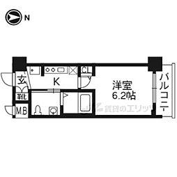 エステムプラザ京都聚楽第雅邸309 3階1Kの間取り