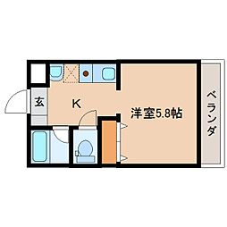 奈良県橿原市中曽司町の賃貸マンションの間取り