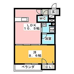 (仮)寒川町小谷1丁目シャーメゾン 1階1LDKの間取り
