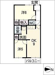 アメニティ亀山 F棟[2階]の間取り