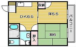 大阪府高槻市大冠町3丁目の賃貸アパートの間取り