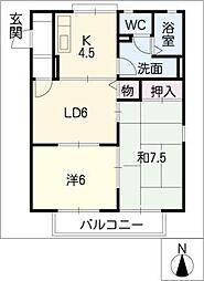 ボナール山田[1階]の間取り
