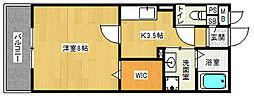 近鉄京都線 小倉駅 徒歩11分の賃貸アパート 3階1Kの間取り