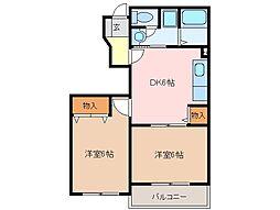 三重県松阪市嬉野中川新町3丁目の賃貸アパートの間取り
