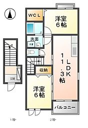愛知県あま市上萱津上野の賃貸アパートの間取り