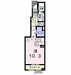 メゾン・ド・ジェルメ 1階1Kの間取り