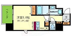 ONLYONE川西小花 8階ワンルームの間取り
