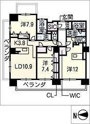 ロイヤルパークスERささしま(西棟)[8階]の間取り