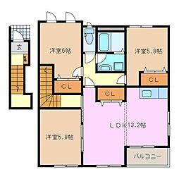 フェリーチェ A棟[2階]の間取り