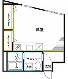 JR中央本線 西荻窪駅 徒歩10分の賃貸マンション 4階ワンルームの間取り