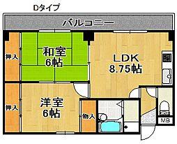 住之江ハイツ[2階]の間取り