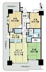 ライオンズマンション京命[4階]の間取り