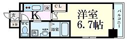 JR大阪環状線 鶴橋駅 徒歩2分の賃貸マンション 15階1Kの間取り