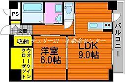岡山電気軌道東山本線 東山・おかでんミュージアム駅駅 徒歩9分の賃貸マンション 2階1LDKの間取り