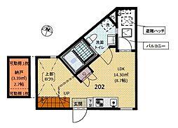 愛知県名古屋市天白区平針4丁目の賃貸アパートの間取り