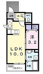JR山陽本線 福山駅 5.2kmの賃貸アパート 1階1LDKの間取り