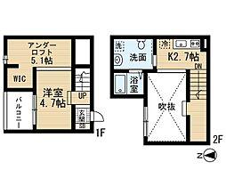 愛知県名古屋市港区品川町1丁目の賃貸アパートの間取り